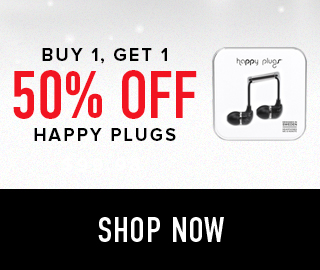 Picture of earbuds. Buy 1, get 1 50% off Happy Plugs. Click to shop now.
